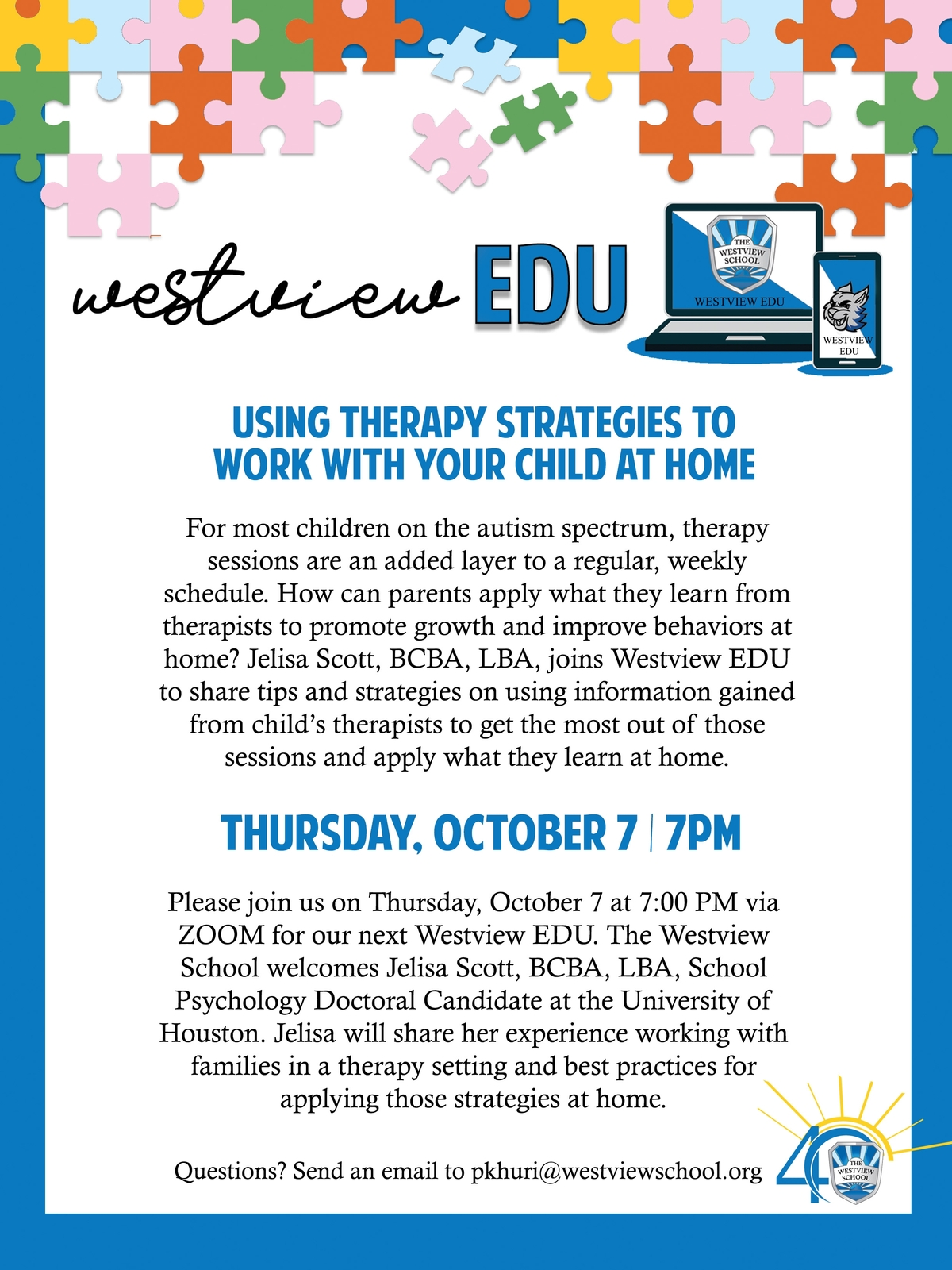 WestviewEDU: Using Therapy Strategies to Work with Your Child at Home